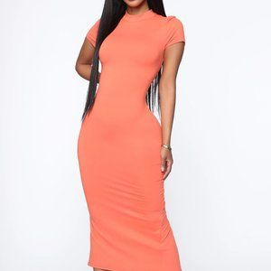 Fashion Nova Orange Needing Me Midi Dress
